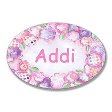 Kids Room Personalization Lollipop Floral Border Wall Plaque