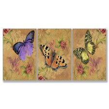 Home Décor Aqua Butterfly Garden Triptych Art