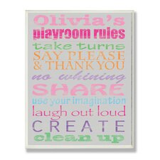 Kids Room Personalization Girl's Typography Playroom Rules Wall Plaque