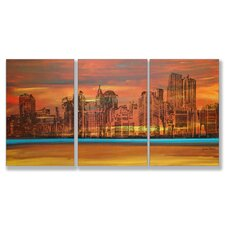 Home Décor Crimson Skyscrapers Triptych Art