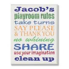<strong>Stupell Industries</strong> Kids Room Personalization Boy's Typography Playroom Rules Wall Plaque