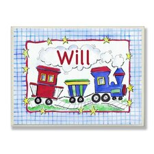 <strong>Stupell Industries</strong> Kids Room Personalization Trains Wall Plaques