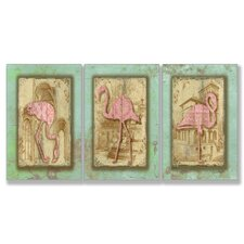 Home Décor Vintage Flamingo Trio Triptych Art