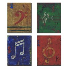 4 Piece Kids Room Distressed Musical Notes Wall Plaques