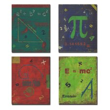 4 Piece Kids Room Distressed Math Symbols Wall Plaques