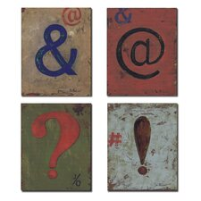 4 Piece Kids Room Distressed Punctuation Wall Plaques