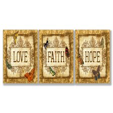 Home Décor Love Faith Hope 3 Piece Textual Art Set