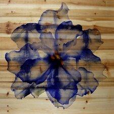 Bright Blue Petals-Wall Art on natural pine wood
