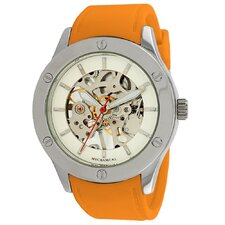 Women's Addison Mechanical See-Through Watch in Orange