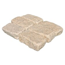 "Tumbled Granite 4"" x 8"" x 2"" Cobblestones in Giallo Fantasia"
