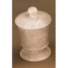 Champagne Marble Pedestal Cotton Ball Holder