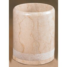 Champagne Marble Spa Hand Carved Waste Basket (Set of 2)