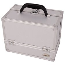 <strong>Sunrise Cases</strong> Dot Pattern 4 Tier Aluminum Makeup Case