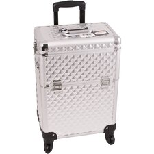 Diamond Pattern Professional Rolling Cosmetic Makeup Case
