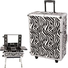 <strong>Sunrise Cases</strong> Zebra Pattern Professional Rolling Studio Makeup Train Case