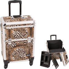 Leopard Pattern Interchangeable Professional Rolling Cosmetic Makeup Train Case