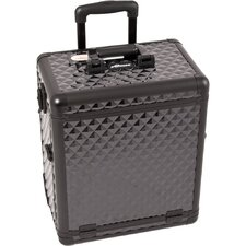 Diamond Pattern Interchangeable Professional Rolling Makeup Train Case