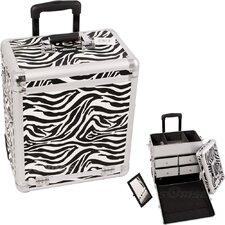 Zebra Pattern Interchangeable Professional Rolling Makeup Train Case