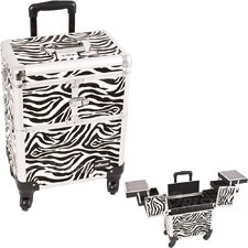 Zebra Pattern Professional Rolling Cosmetic Makeup Train Case