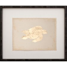 Gold Leaf Turtle - Right Facing on Paper Framed Graphic Art