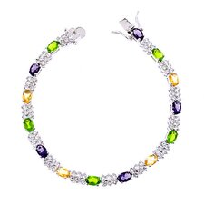 Oval Link Multi-Gemstone Diamond Bracelet