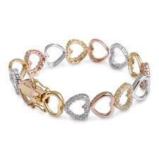 Clear Diamond Heart Sterling Silver Bracelet