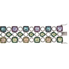 Varies Shapes Multicolored Wide 3 Row (.925) Sterling Silver Bracelet