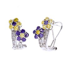 Amethyst Canary Flower Sterling Silver Clip with Post Earrings
