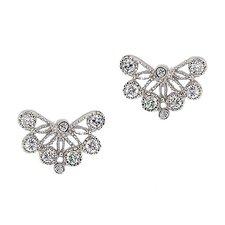 Lace Diamond Sterling Silver Stud Earrings
