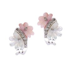 Pink White Mother-of-Pearl Flower Clip with Post Earrings