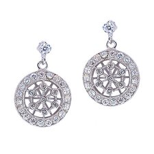 Tiffany Inspired Dangling Lacy Diamond Earrings