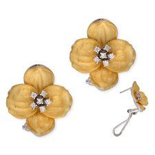Mate Vermeil Plated Flower Shape (.925) Sterling Silver Earrings