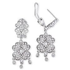 Lacy Four-Petal Flower Design Diamond Drop Earrings