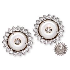 Brilliant Diamond Sun Mother-of-Pearl Circle Stud Earrings