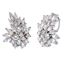 Marquise Round Diamond Silver Cluster Earrings