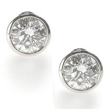 Clear 6 CT TW Bezel Set Earring Studs