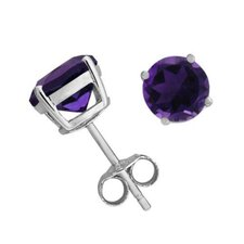 Amethyst cubic zirconia Diamond Rhodium Stud Earrings