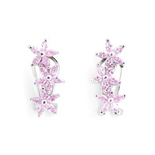 Dark Pink Flower Rhodium Plated Earrings