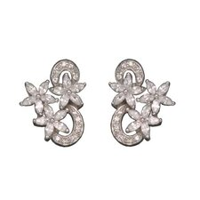 Marquis Flower Rhodium Plated Earrings