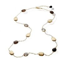 """24"""" Gem Oval with White Plated Necklace"""