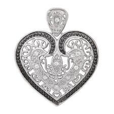 Sterling Silver Vintage Filigree Designer with Black Outline Rhodium Heart Pendant