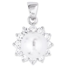Faux Pearl with Round Diamond Pendant