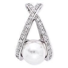 "Diamond "" X "" Swoop Faux Pearl Bridal Pendant"