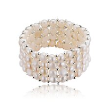 Natural Freshwater Flat Coin Pearl 4 Row Bracelet
