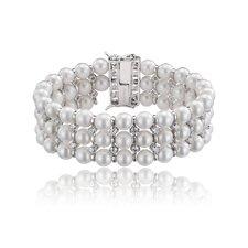 Cubic Zirconia Diamond Pearl Bracelet
