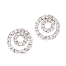 Nested Circle Cubic Zirconia Diamond Stud Earrings