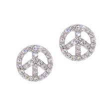 Pave Peace Sign Cubic Zirconia Stud Earrings