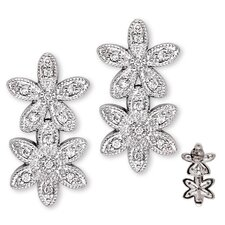 Double Flower Cubic Zirconia Diamond Earrings