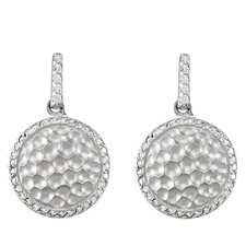 Round Hammered Cubic Zirconia Earrings