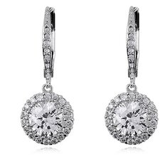 Round Cubic Zirconia Drop Dangle Earrings